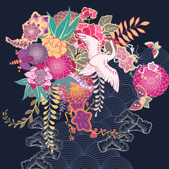 Decorative kimono floral motif