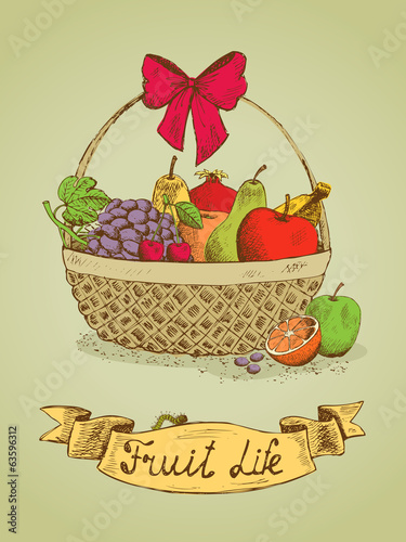 Fruit life gift basket with bow emblem