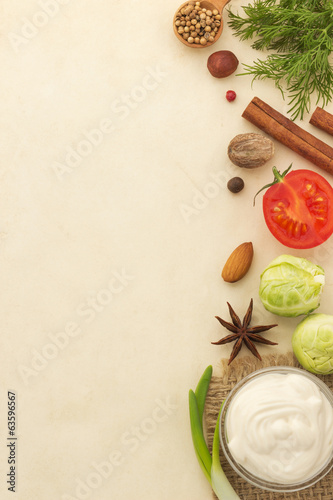 food ingredients and paper