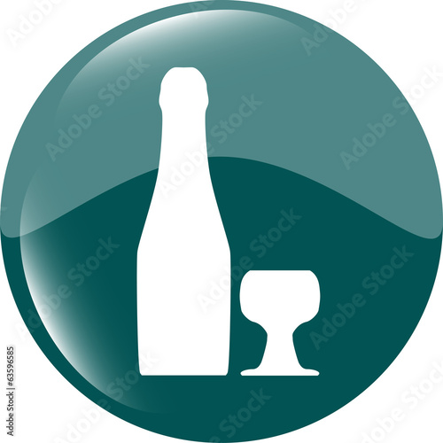 icon with bottle and cup, web button isolated on white