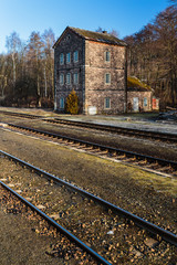 Old abandoned railway building in North Bohemia
