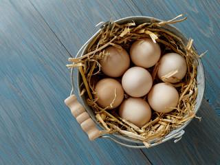 Bucket of fresh eggs