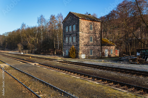 Old abandoned railway building in Czech Republic