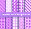 set of ten seamless geometric violet patterns. EPS10