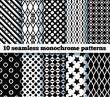 10 seamless monochrome patterns. EPS10, no gradient, no transpar