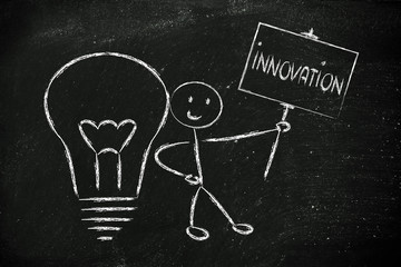 man with ideas and knowledge promoting innovation