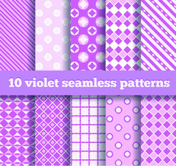set of ten seamless geometric violet patterns. EPS10
