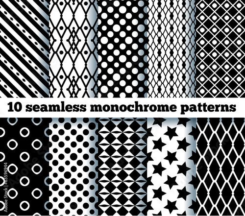 10 seamless monochrome patterns. EPS10, no gradient, no transpar