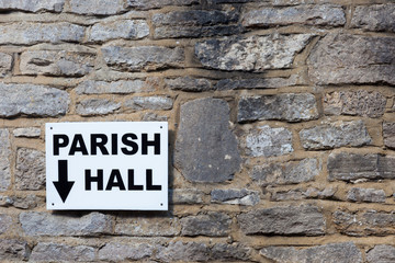 Sign for Parish Hall on a slate wall
