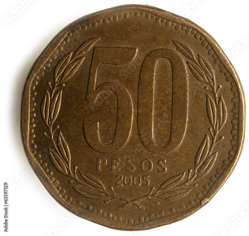 Peso chileno Chilean currency money 50 pesos