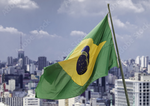 Brazilian waving flag in Sao Paulo, Brazil