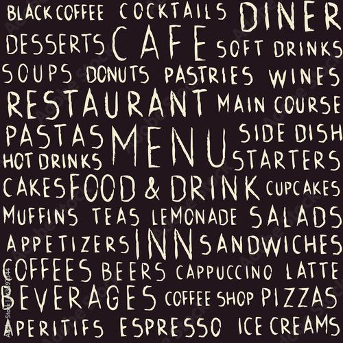 Ręcznie pisany restauracja odnosić sie bezszwowego wzór na blackboard