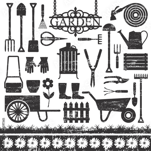 Scratched gardening related silhouette icons