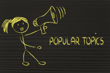funny girl with megaphone: popular topics