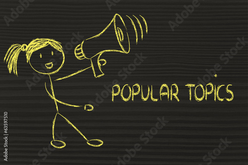 funny girl with megaphone: popular topics