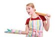 Housewife kitchen apron holds rolling pin showing copy space