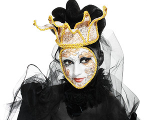Beautiful woman with Venetian mask make up white and gold color