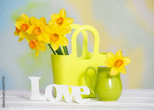 Still life with spring yellow narcissus flowers and love sign