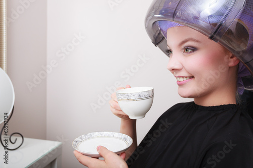 canvas print picture Woman drinking coffee tea hairdryer beauty hair salon