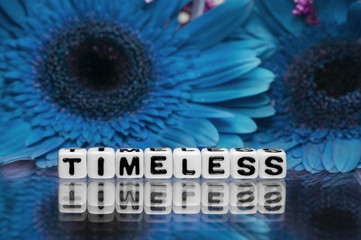 Timeless text message with blue flowers
