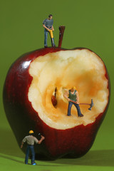 Construction Workers in Conceptual Imagery With an Apple
