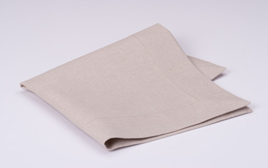Natural Linen Napkin On White Background