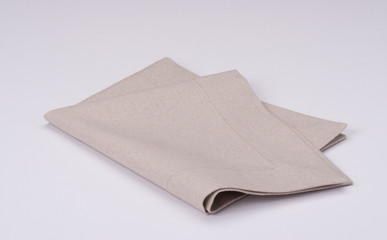 Natural Linen Napkin On White Background