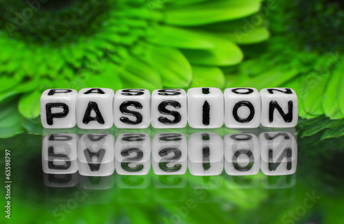 Passion text on green flowers