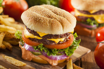 Beef Cheese Hamburger with Lettuce Tomato