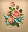 Easter vintage card with roses. Vector.