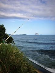 Fishing from rock in Atlantic ocean, Rio de Janeiro
