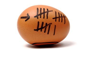 Strichliste auf einem Ei zählen