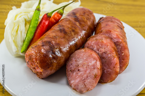 thai sausage with Chilli and vegetables
