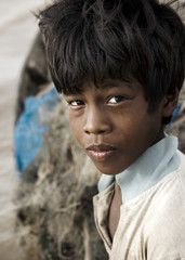 Native Boy Stricken By Poverty, Cambodia