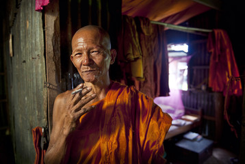 Monk in Cambodian Monastery