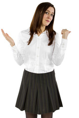 young businesswoman or student with carefree gesture