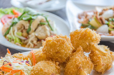 Fried shrimp ball on sugarcane skewers