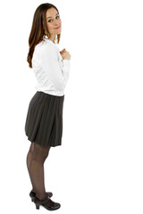 young flattered businesswoman or student with gesture