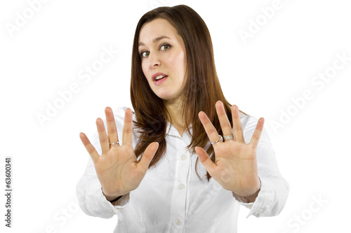 young businesswoman or student with a stop gesture