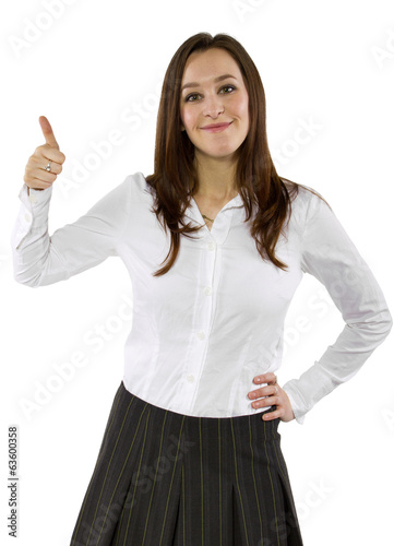 young businesswoman or student upvoting with gesture
