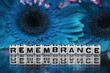 canvas print picture - Remembrance text message the blue flowers