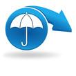 parapluie sur bouton bleu