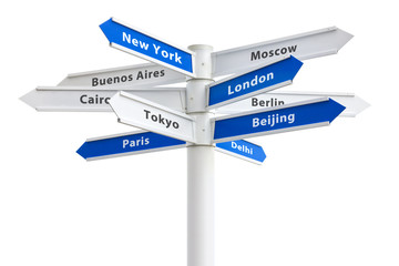 Major Cities of the World Crossroad Sign