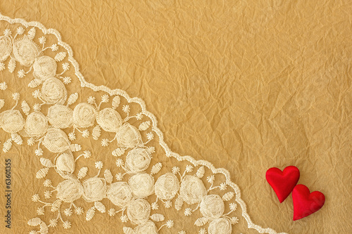 Lace and  crumpled paper background