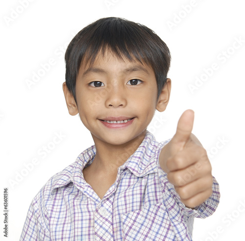 little boy giving you thumbs up –close up