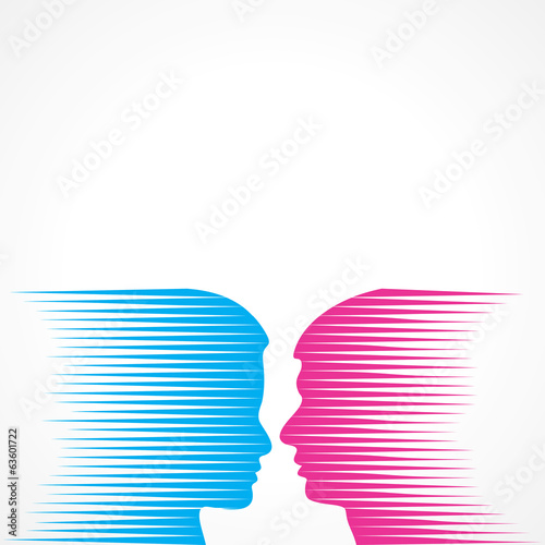 Abstract male and female face stock vector