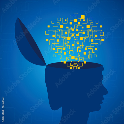 Human head emitting squares stock vector