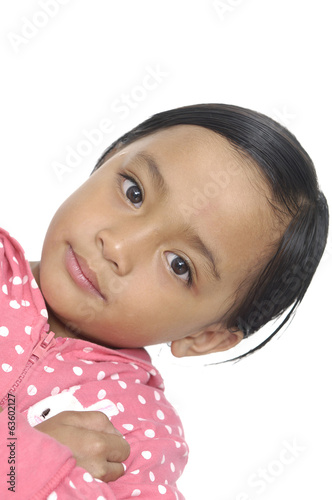 Happy time for little girl isolated on white background