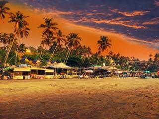 beach against the sunset sky
