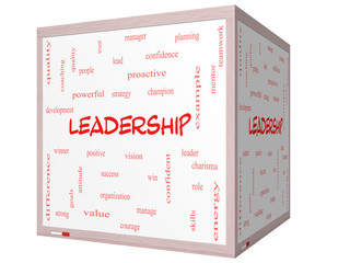 Leadership Word Cloud Concept on a 3D cube Whiteboard